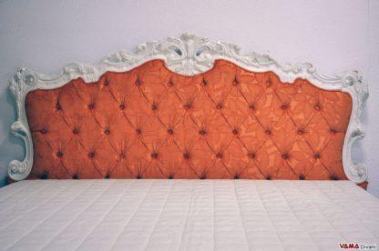 Testata letto Barocco con cornice laccata bianca