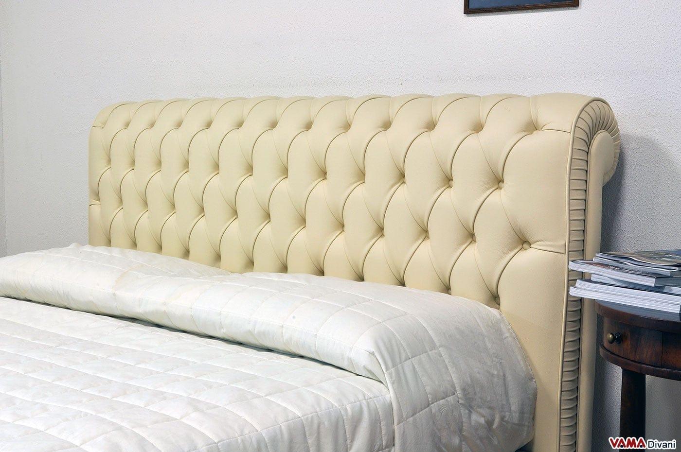 Letto chesterfield matrimoniale in pelle realizzabile su misura - Camere da letto in pelle ...