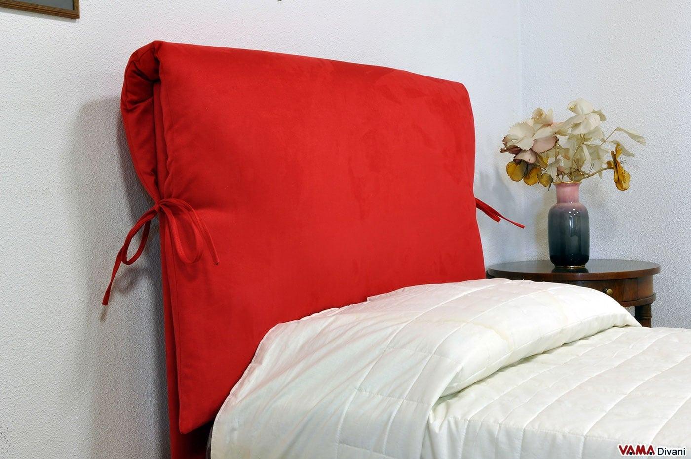 Letto singolo su misura in tessuto rosso con contenitore - Testiera letto singolo imbottita ...