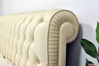 Testata Letto Chesterfield in Pelle Panna beige