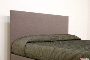 Testata letto semplice imbottita in tessuto grigio sfoderabile
