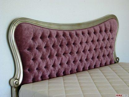 Testata letto colore viola in velluto e cornice in legno