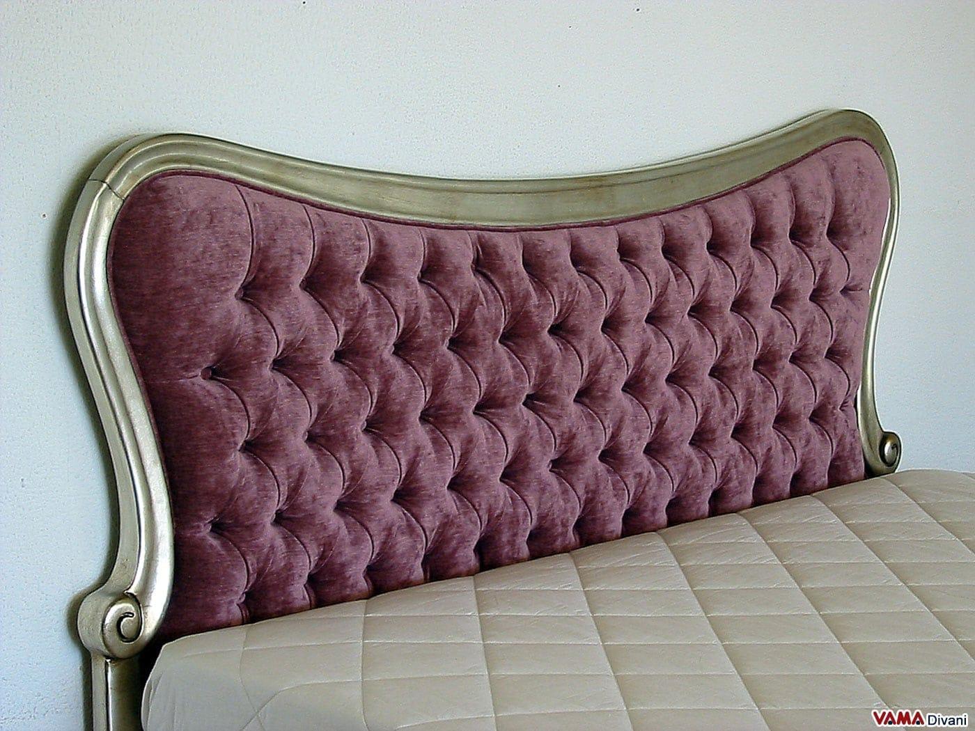 Letto in velluto con cornice in legno e lavorazione capitonn - Testata letto in legno ...