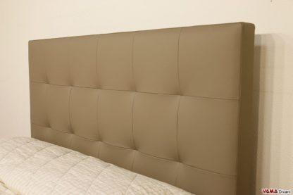 Testata letto moderna in pelle grigia talpa
