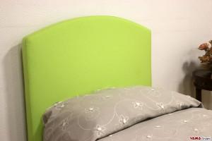 Testiera letto singolo in tessuto verde