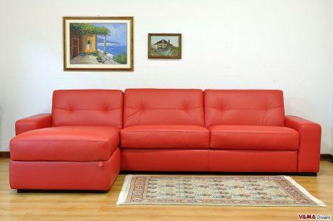 Divano Letto Angolare rosso in pelle con contenitore