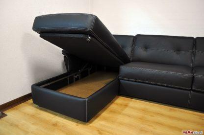 Penisola contenitore divano angolare letto nero