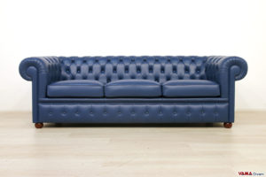 Divano Chesterfield blu 3 posti in pelle
