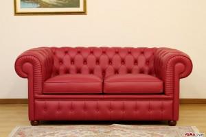 divano chesterfield 2 posti rosso veneziano in vera pelle