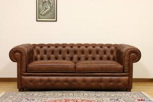 divano chester 200 cm in pelle marrone scuro