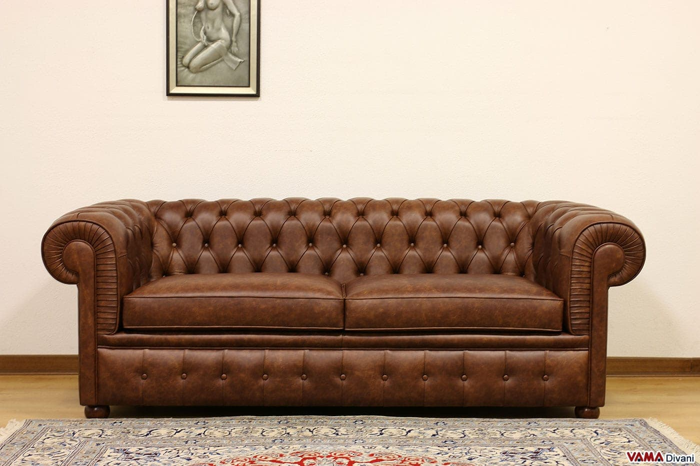Divano chesterfield 2 posti maxi due cuscini large for Divano 200 cm