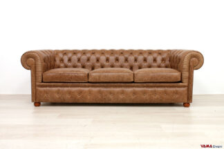 Divano Chesterfield 3 posti marrone in pelle pull up