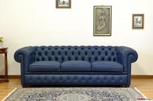 divano chesterfield 3 posti blu
