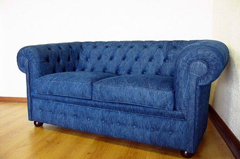 divano chesterfield denim jeans tessuto blu