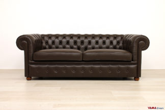 Divano Chesterfield in pelle marrone testa di moro