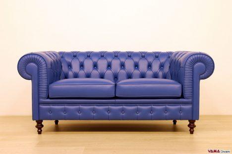 divano chesterfield pelle blu 2 posti
