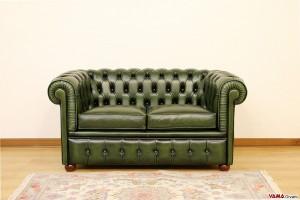 divano chester piccolo in pelle asportata verde inglese