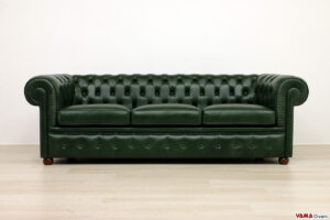 Divano Chesterfield 3 posti in pelle verde bosco