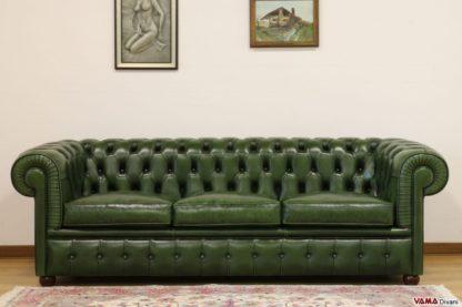 Divano chesterfield verde inglese 3 posti invecchiato vintage