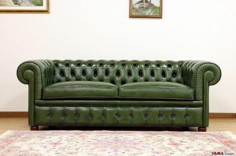 divano chesterfield inglese verde vintage invecchiato tamponato