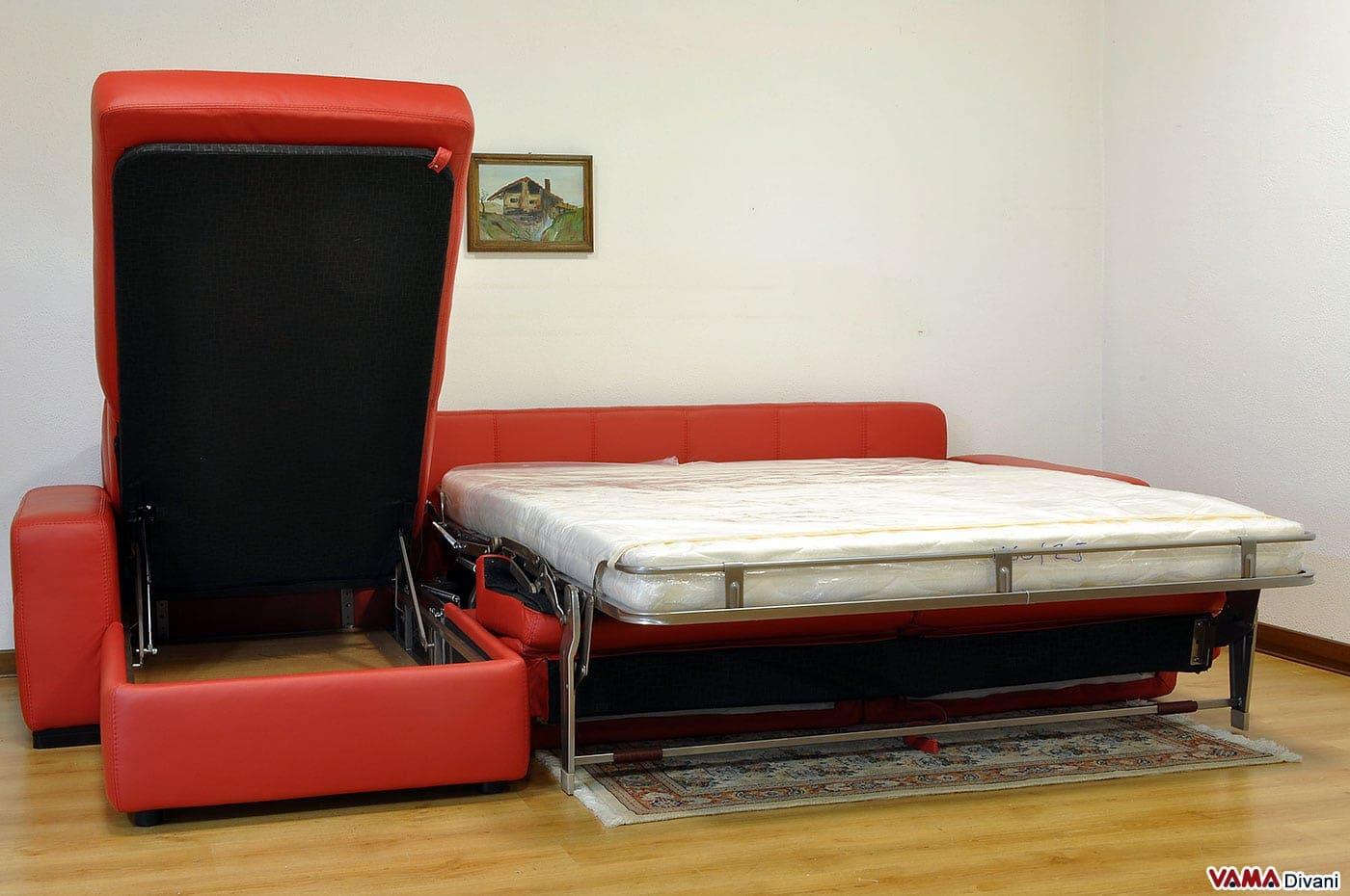 Divano angolare con letto matrimoniale e penisola contenitore for Divano letto