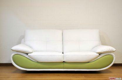 Divano moderno verde e bianco bicolore