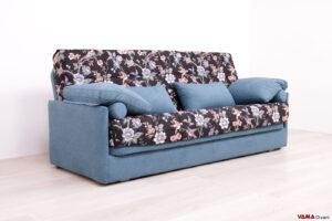 Divano letto clic clac con tessuto floreale e materasso alto 15 cm