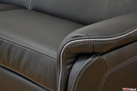 Cucitura a contrasto bianca divano in pelle nero