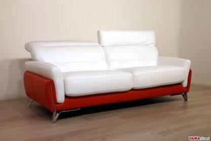 Divano moderno 3 posti arancio e bianco