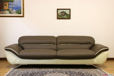 Divano moderno 3 posti maxi 240 cm marrone e panna