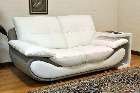 divano in pelle moderno bianco e grigio