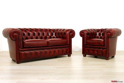 Salotto Chesterfield rosso invecchiato a mano
