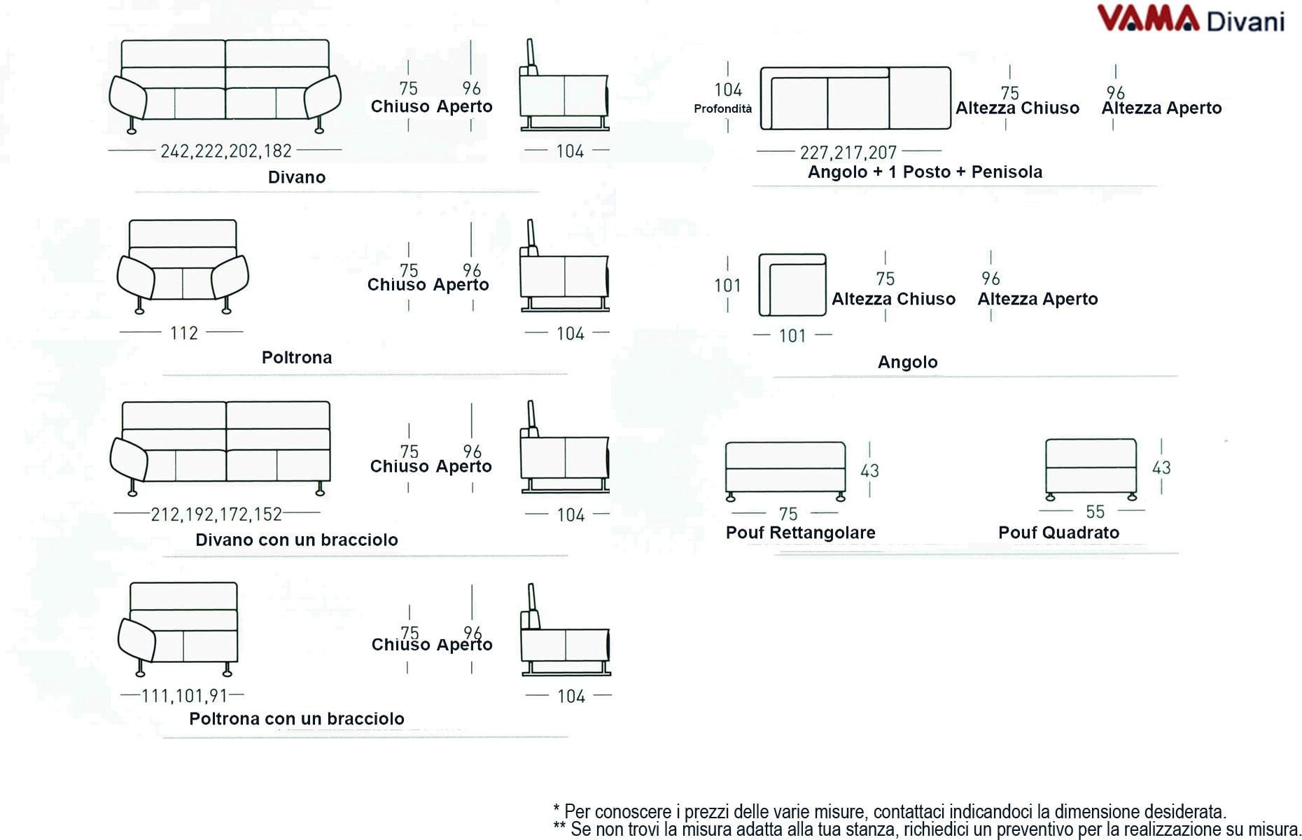 Divano domino vama divani for Dimensioni divano