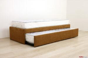 Doppio letto singolo estraibile in microfibra marrone