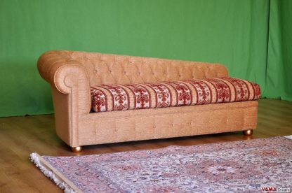 dormeuse chesterfield in tessuto stoffa damascata