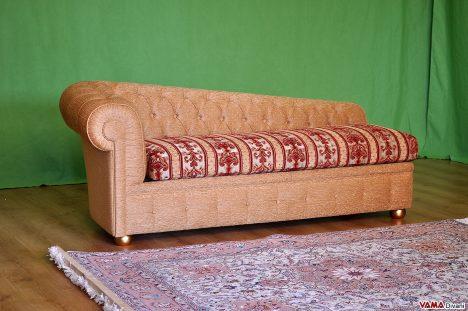 dormeuse chesterfield in tessuto stoffa damascata
