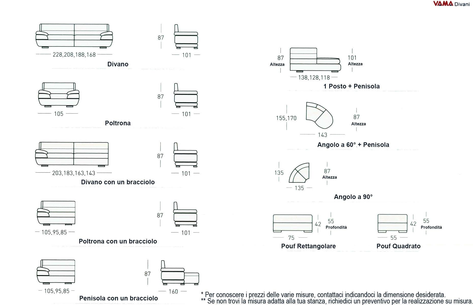 Divano angolare moderno in pelle con angolo inferiore a 90 - Misure standard divano ...