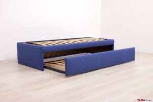 Letto singolo con letto estraibile blu in tessuto sfoderabile