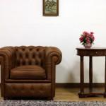 Poltrona Chesterfield marrone vintage