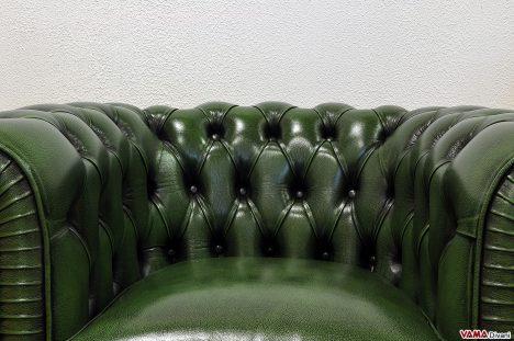 poltrona chesterfield pelle asportata verde