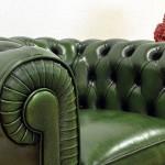 poltrona chesterfield verde inglese pelle asportata