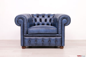 Poltrona Chesterfield blu vintage in pelle