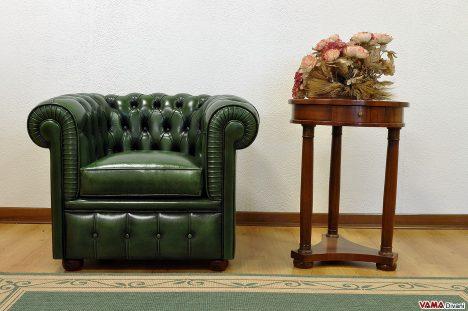 poltrona chester verde inglese pelle invecchiata asportata