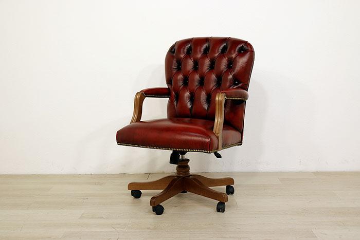 Poltrona ufficio pelle e legno vintage