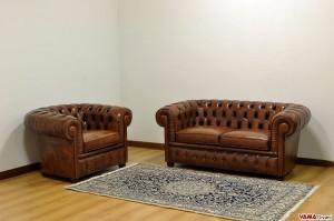 Salotto Chesterfield poltrona con divano 2 posti