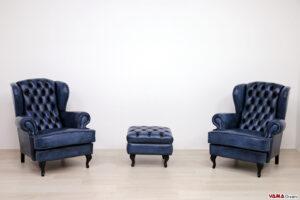 Poltrone bergere classiche moderne in pelle blu