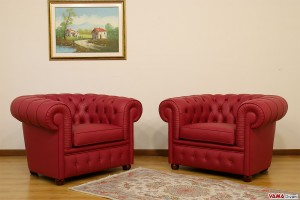 Poltrone Chesterfield rosse in pelle