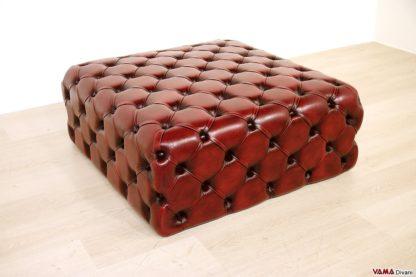 pouf capitonnè in pelle rosso bordeaux vintage