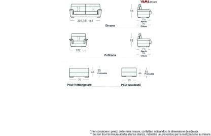 Dimensioni Divano con sedute allungabili