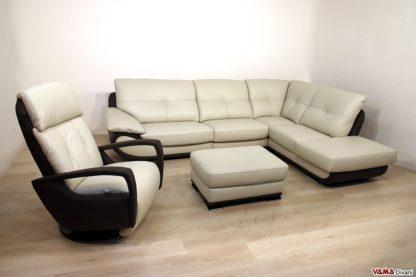 soggiorno moderno con salotto in pelle